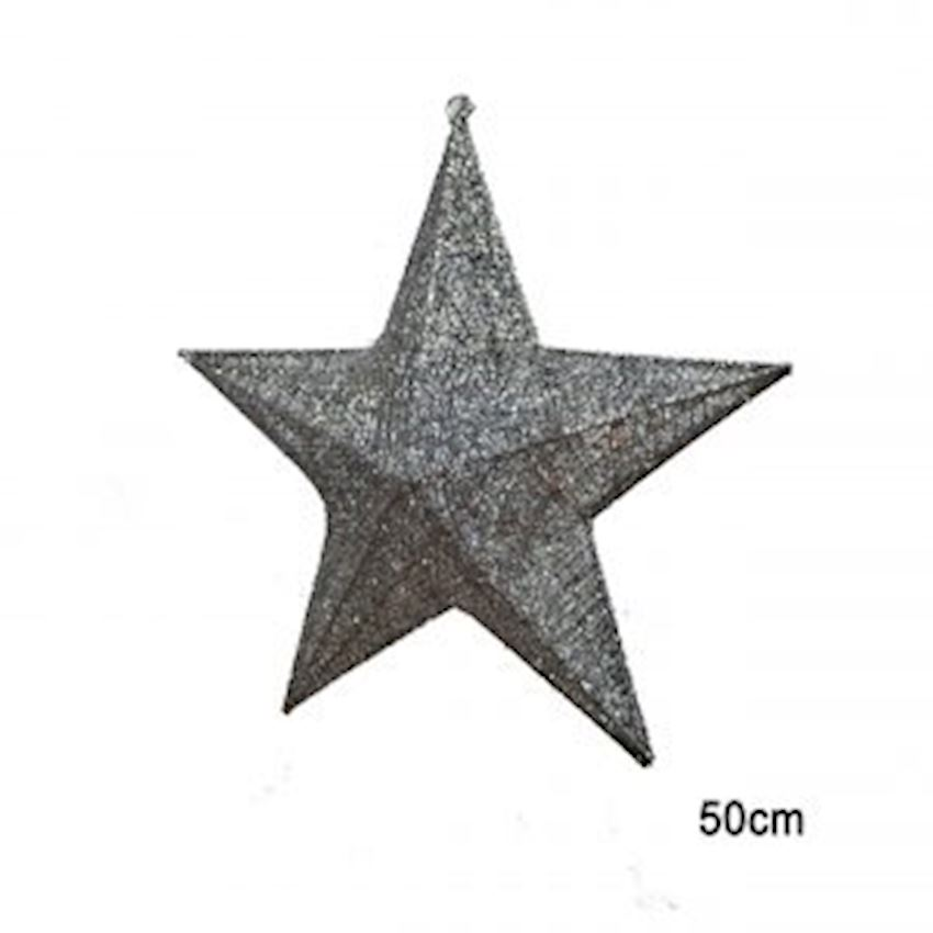 Silvery Metal Wire Star Ceiling Ornament Silver 50cm Christmas Decoration Supplies