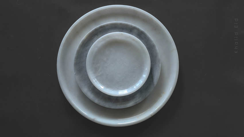 Simple C 3 piece round plate set (marble)