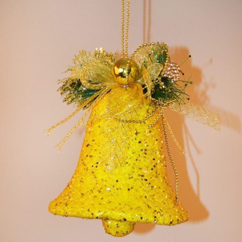 Single Ornate Bell Christmas Ceiling Ornament Yellow Christmas Decoration Supplies