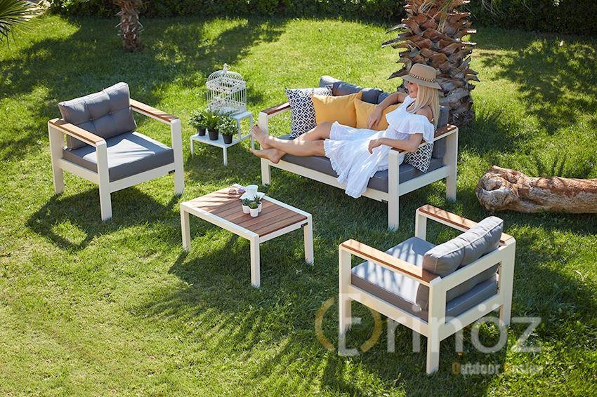 SITTING GROUP-mouri sitting group-MOURI Aluminum Seating Group-Aluminum Body, Iroko Wood