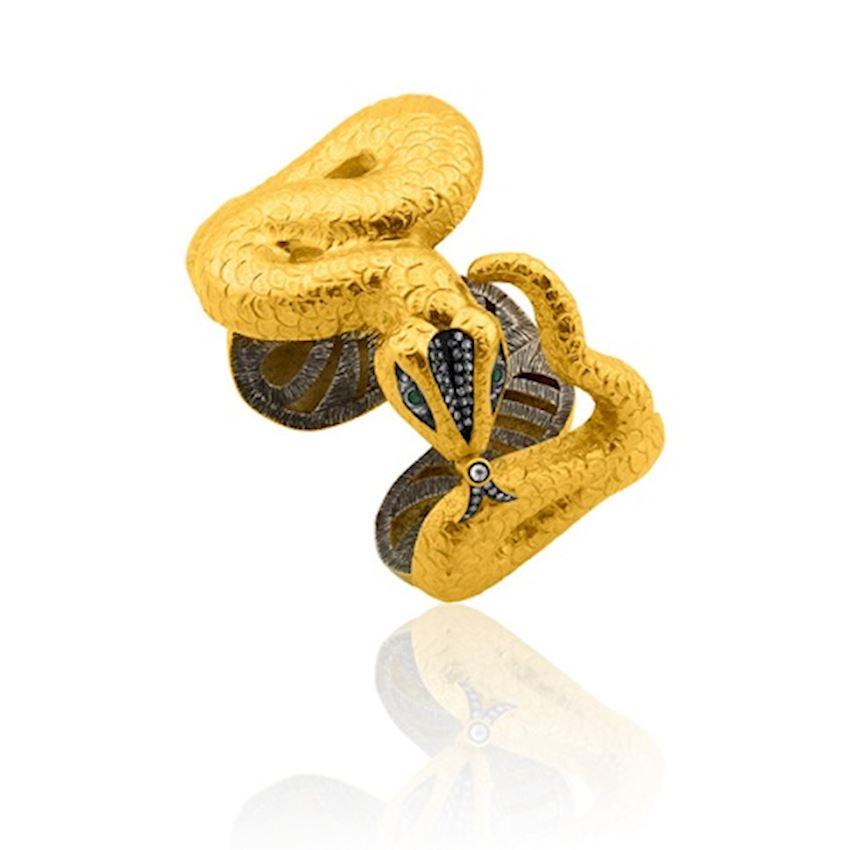Snake Figured Gold Bracelet