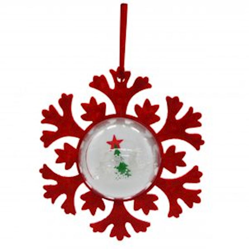 Snow Globe Snowflake Tree Ornament Red 10cm Christmas Decoration Supplies