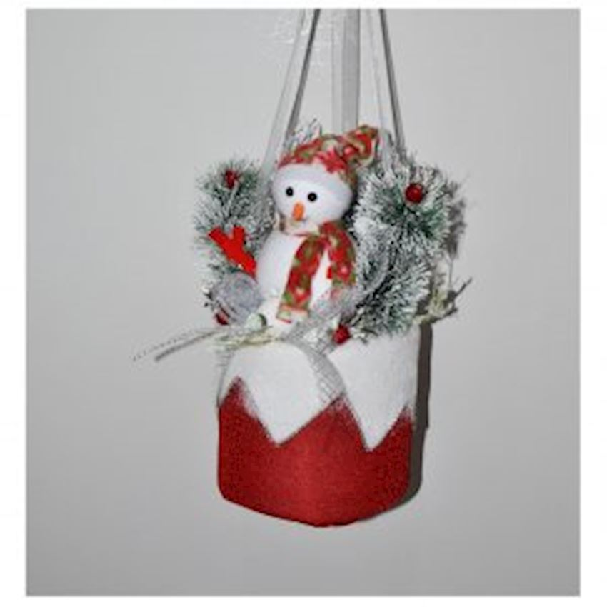 Snowman Christmas Ceiling Ornament In Cylinder Basket Christmas Decoration Supplies