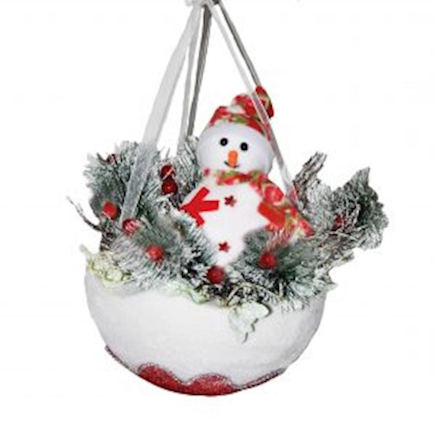 Snowman in a Round Basket Christmas Ceiling Ornament Christmas Decoration Supplies