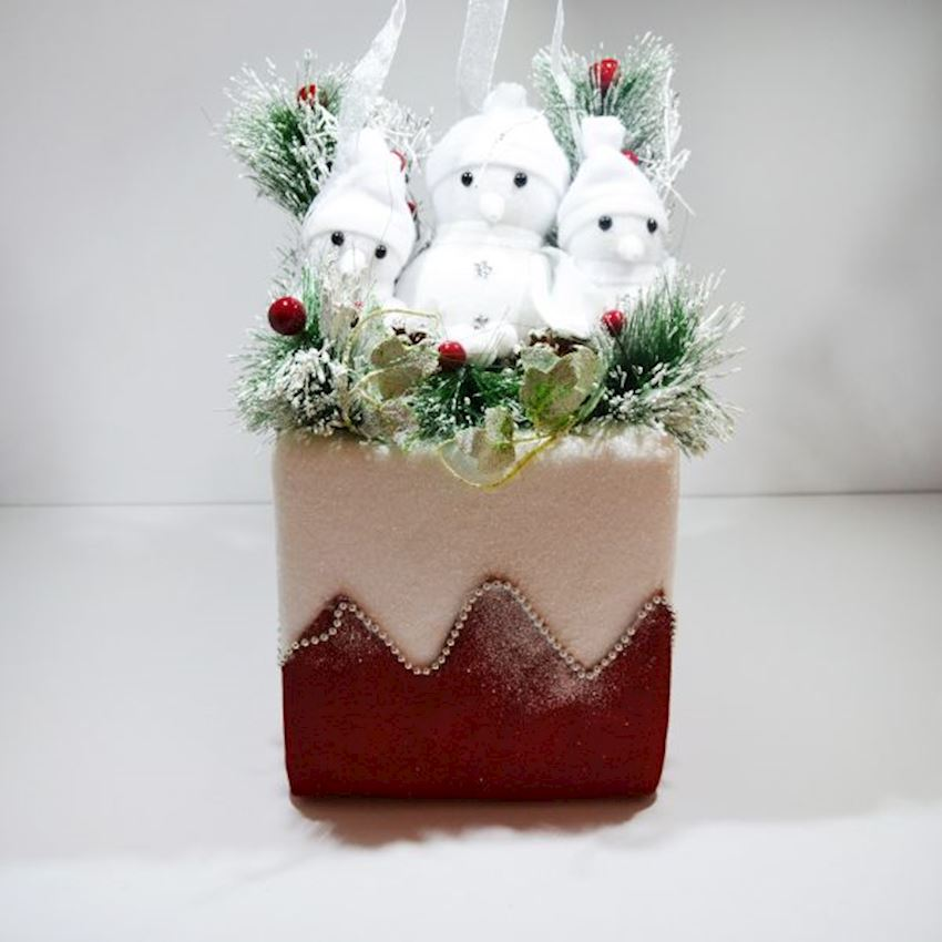 Snowmen Christmas Basket Ornament Red Christmas Decoration Supplies