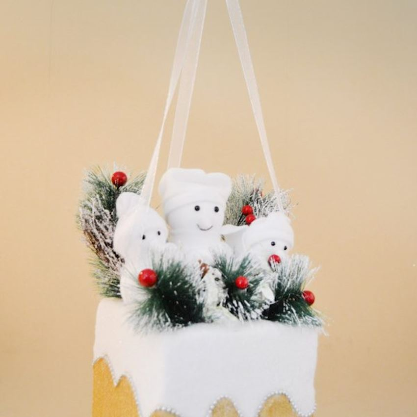 Snowmen in the basket Christmas Ceiling Ornament Yellow Christmas Decoration Supplies