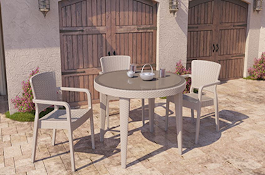 TABLE, CHAIR, DECK CHAIR-OSAKA ROUND TABLE SET