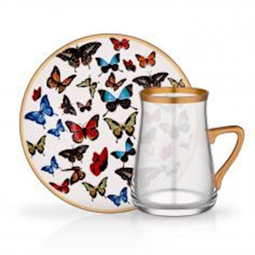 Tea Sets TARABYA HANDLE TEA ST 6 PIECE BUTTERFLY