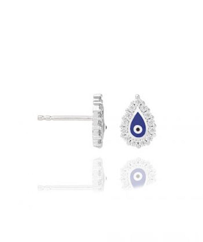 Teardrop with Evil Eye Stud Earrings, Blue