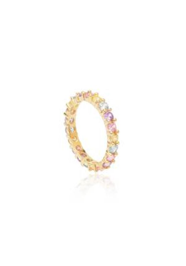 Thin Colored Zirkon Rose Ring