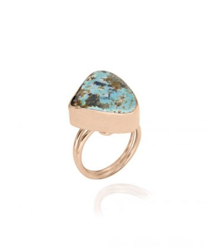 Triangle Turquoise Ring, Blue