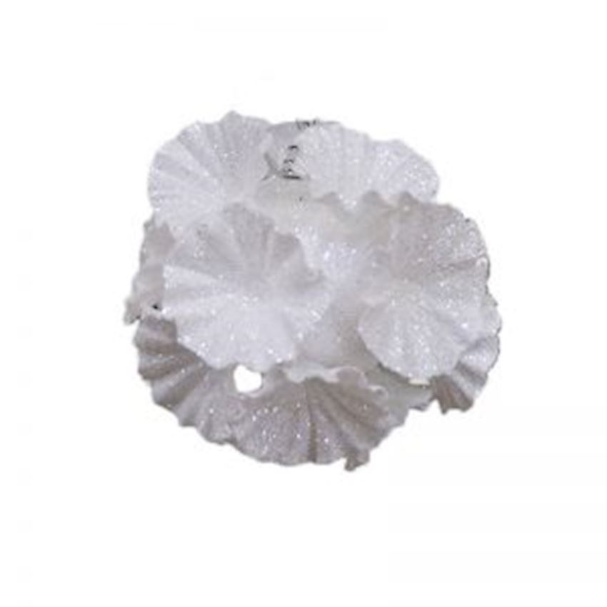Triple Floral Silvery Ball White 8cm Christmas Decoration Supplies