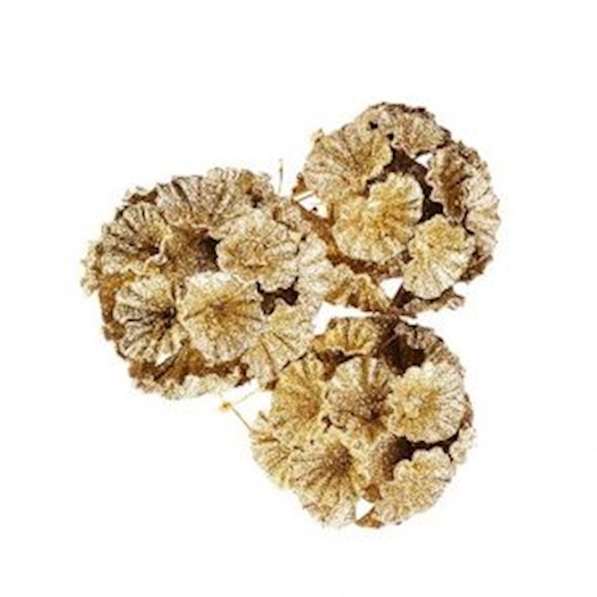 Triple Floral Silvery Top Yellow 8cm Christmas Decoration Supplies
