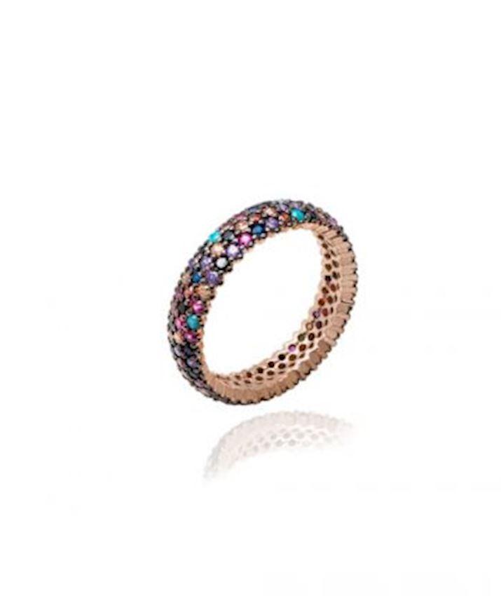 Triple Row CZ Ring, Multicolor
