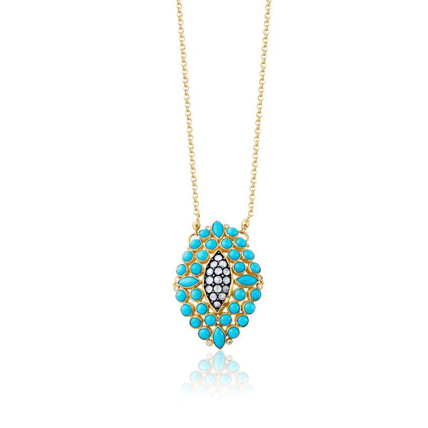 Turquoise Colored Zirkon Necklace