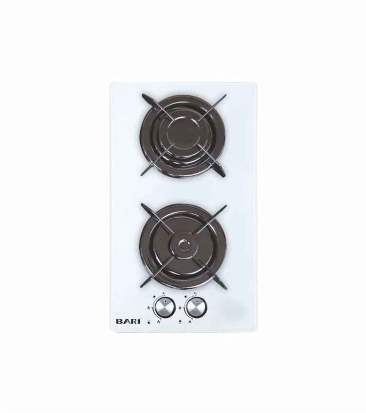 Two Built-in Gas Safety Built-in Domino Glass Hob - White C2320BCE