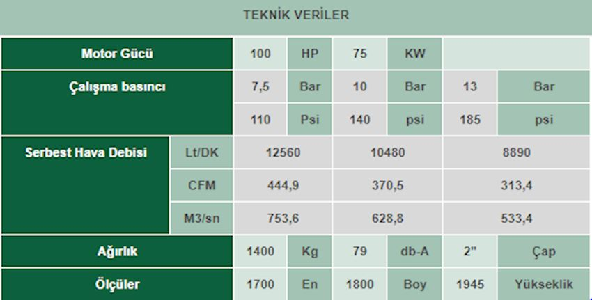 VEK 100 Screw Compressor With İnverter
