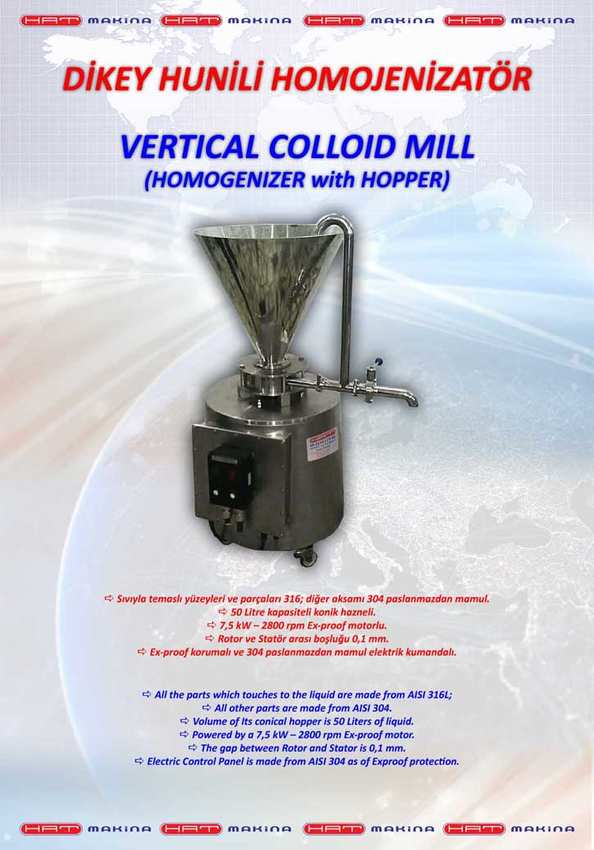 VERTICAL COLLOID MILL (HOMOGENIZER with HOPPER)