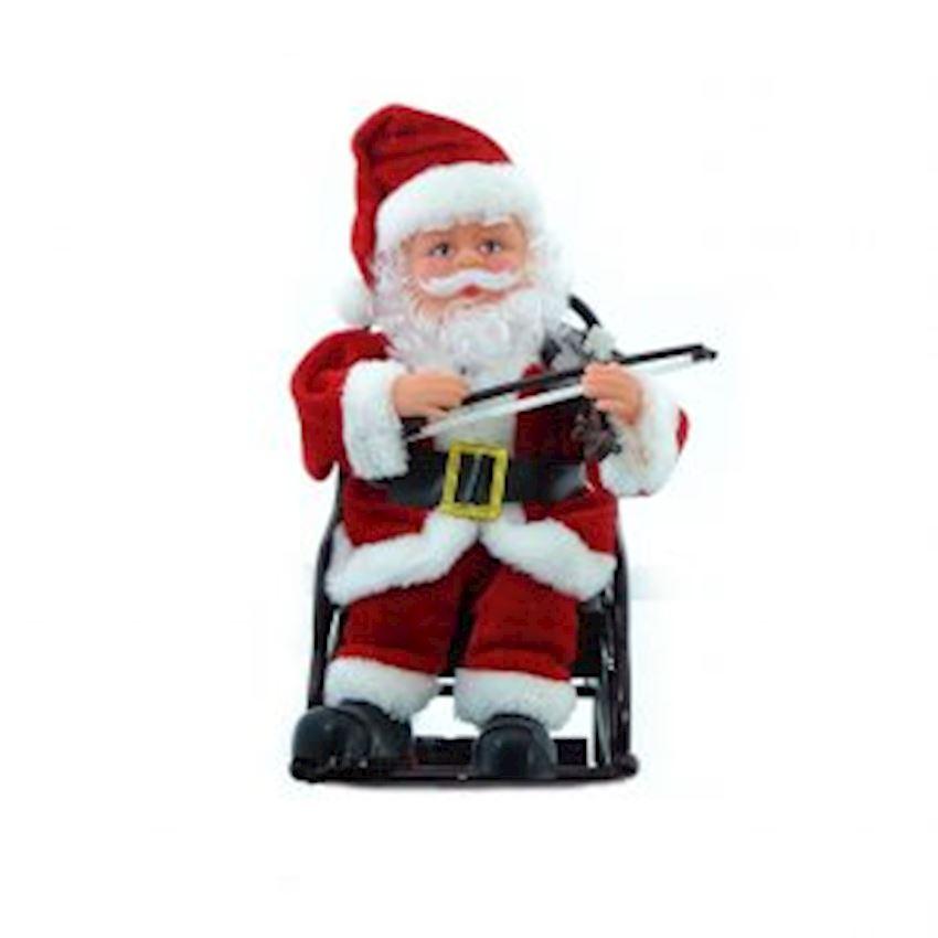 Violin Playing Santa Claus Figurine 20cm Christmas Decoration Supplies
