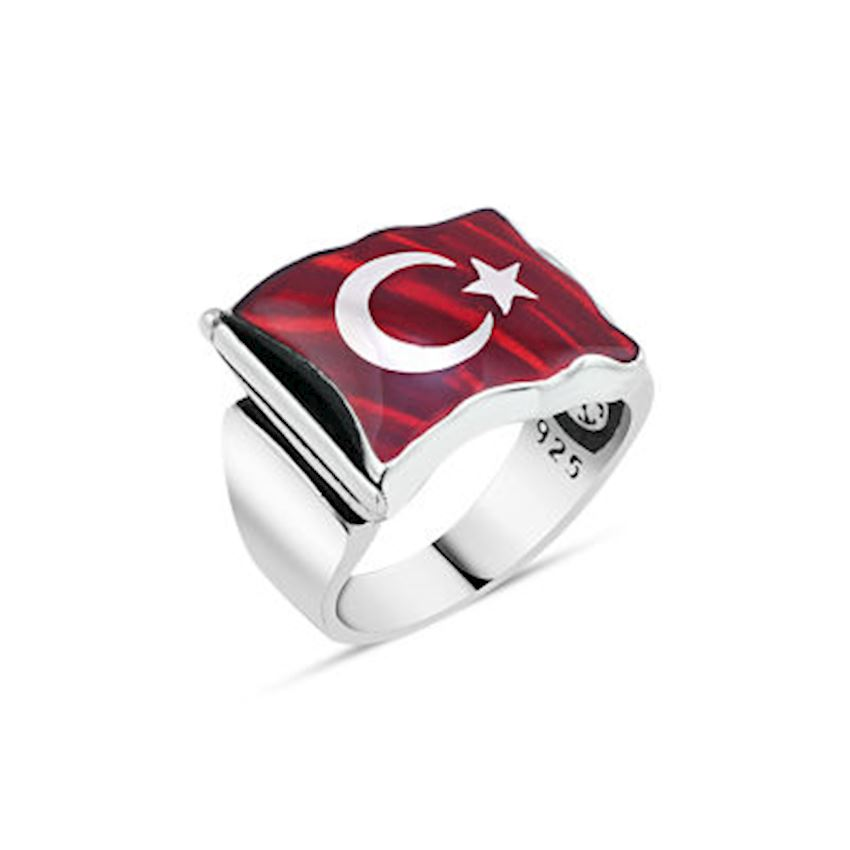 Wavy Flag Patterned Men's Ring