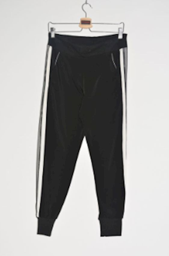 White Striped Ankle Elastic Black Trousers