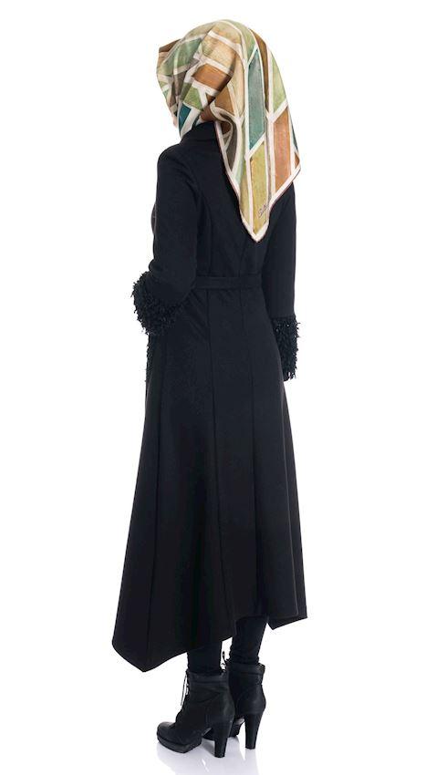 Women's Asymmetrical Black Fleece Winter Coat for Hijab