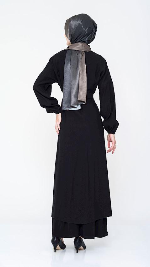 Women's Belted Black Cap Summer Coat for Hijab