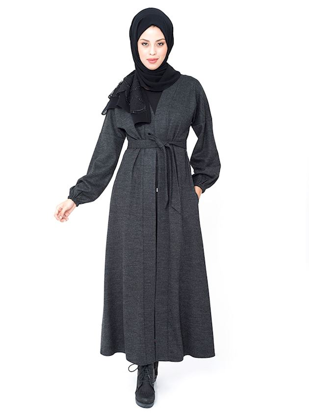 Women's Belted Black Cap Winter Coat for Hijab