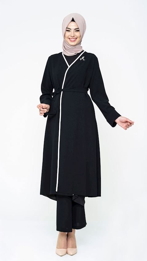 Women's Belted Black Suit for Hijab with Pants and Brooch Details