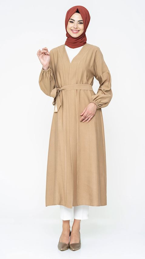 Women's Belted Mink Abaya Coat for Hijab