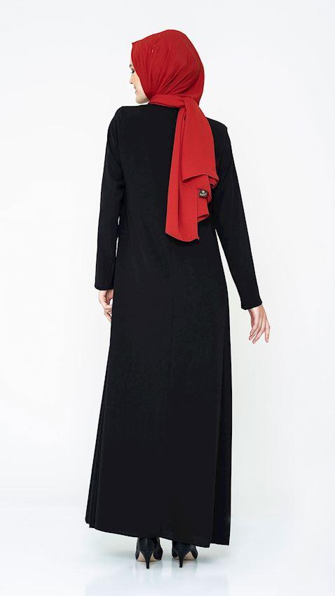 Women's Black Evening Dress with Rhinestone and Chiffon Details Hijab Dress Abaya