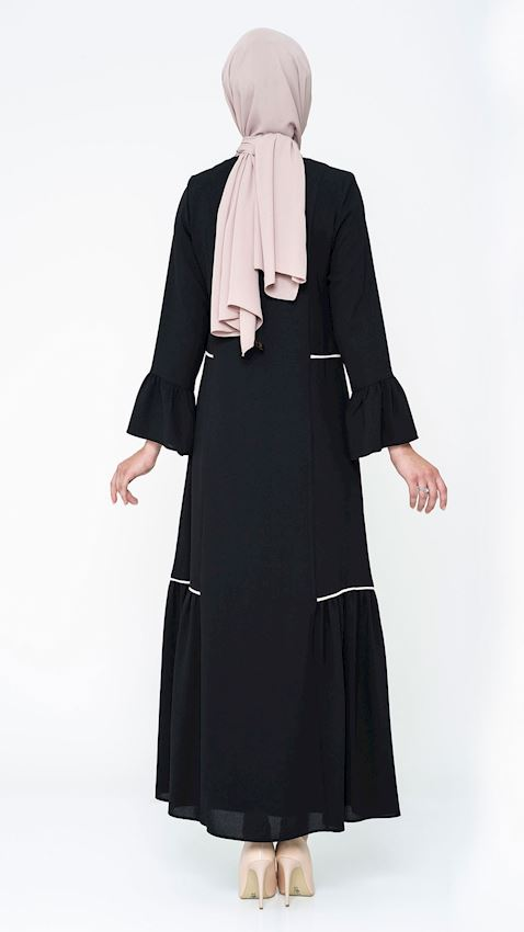 Women's Black Long Coat with Zipper and Piping Details Hijab Coat Ferace Faraja