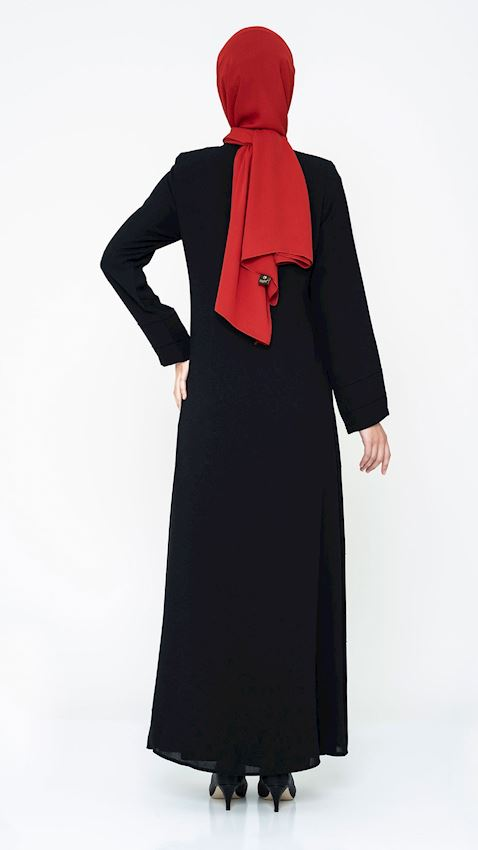 Women's Black Long Coat with Zipper Hijab Coat Ferace Faraja