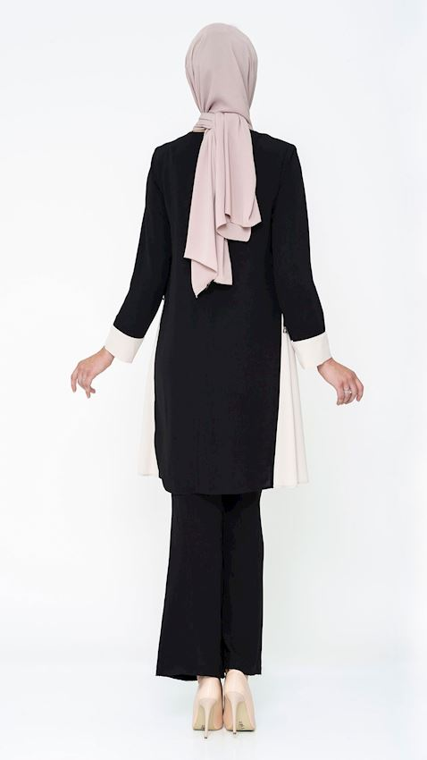 Women's Black Suit for Hijab with Pants and Brooch Details