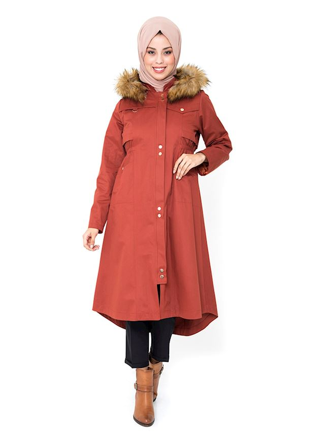 Women's Brick Red Hooded Trench Coat with Snaps Hijab Rain Coat