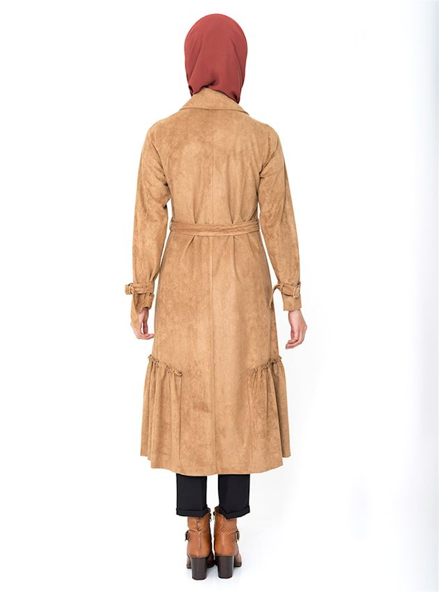 Women's Buttoned Camel Winter Coat for Hijab