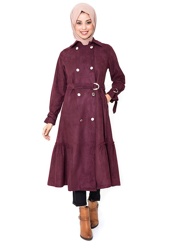 Women's Buttoned Damson Coat with Belt Winter Coat for Hijab