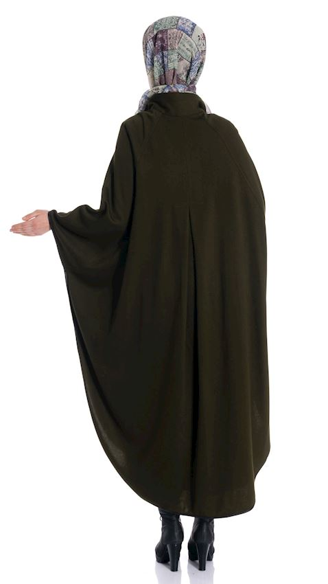 Women's Buttoned Green Cape Winter Poncho for Hijab