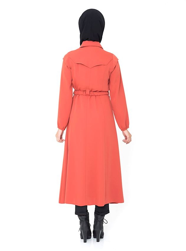 Women's Buttoned Orange Cap with Belt Coat for Hijab