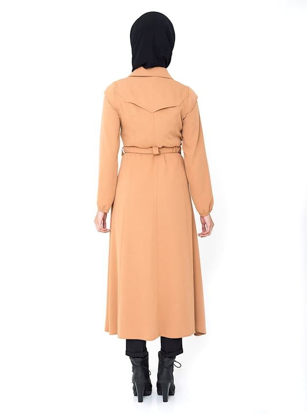 Women's Buttoned Salmon Cap with Belt Coat for Hijab