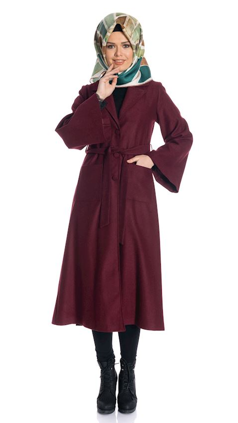 Women's Claret Red Long Coat with Collar Winter Coat for Hijab
