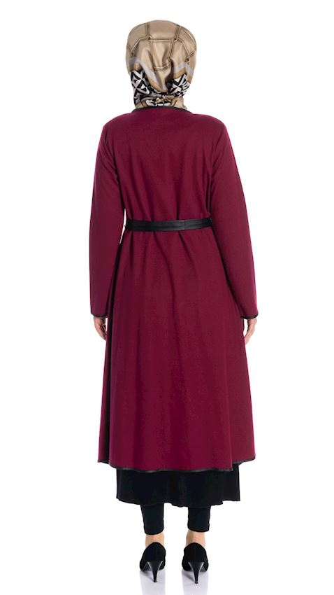 Women's Damson Colored Felt Cap with Leather Winter Coat for Hijab