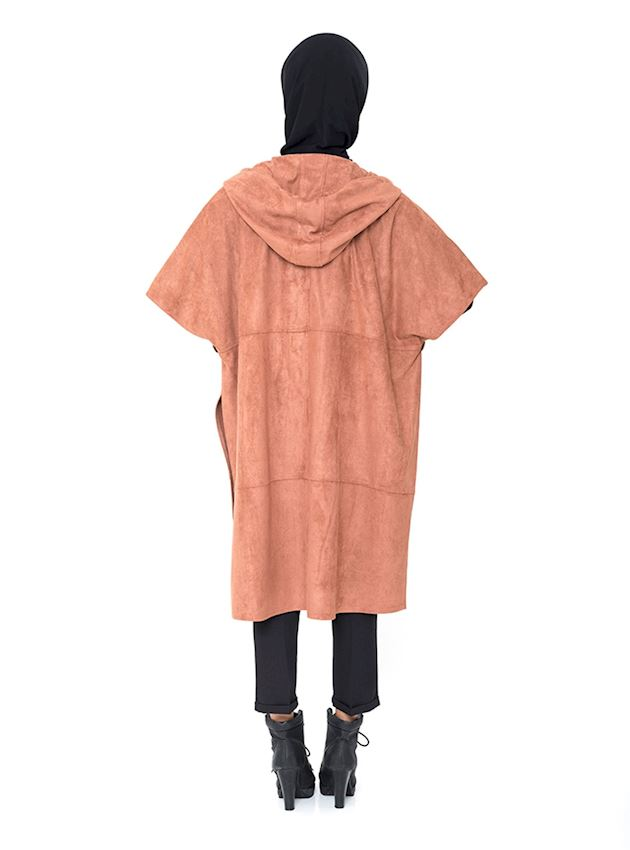Women's Ginger Cape with Wooden Buttons Poncho for Hijab