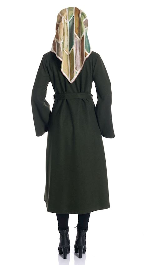 Women's Green Long Coat with Collar Winter Coat for Hijab