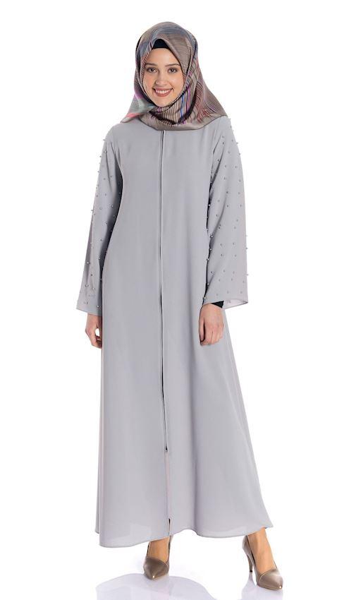 Women's Grey Long Coat with Zipper and Pearls Hijab Coat Ferace Faraja