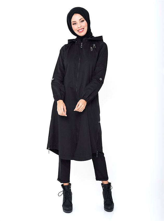 Women's Hooded Black Cap with Zipper Coat for Hijab