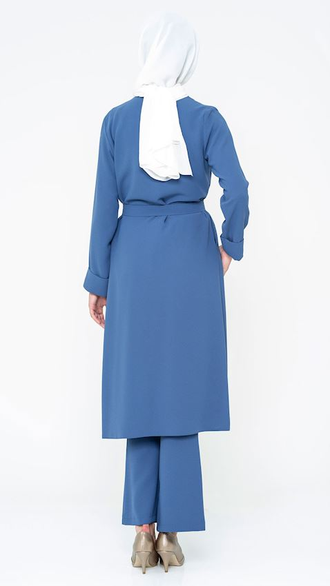 Women's Indigo Suit for Hijab with Pants, Belt, and Brooch Details