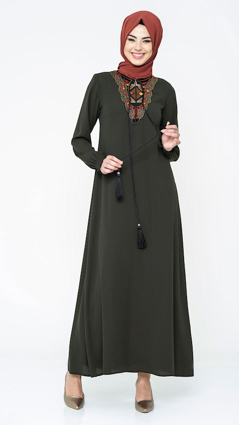 Women's Khaki Evening Dress with Embroidered Collar Hijab Dress Abaya