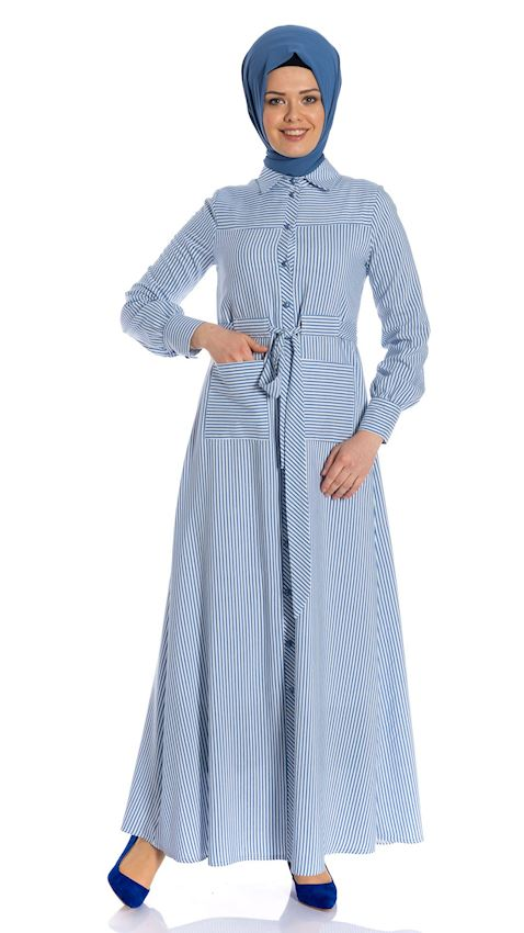 Women's Light Blue Striped Evening Dress Sports Hijab Dress