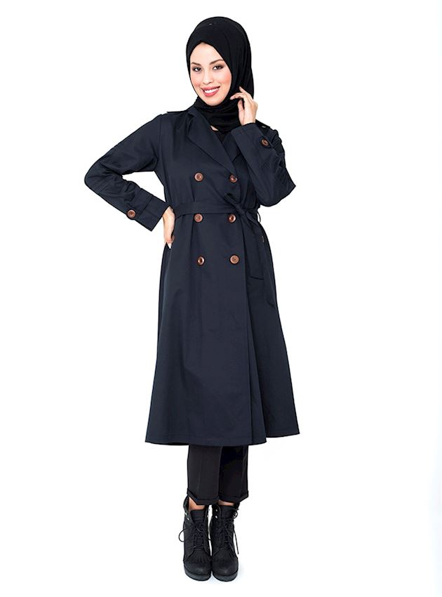 Women's Light Navy Blue Buttoned Trench Coat Hijab Rain Coat